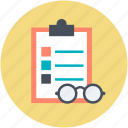 clipboard, eyeglasses, list, todo list icon