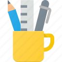 cup, office, pen, tools, writing