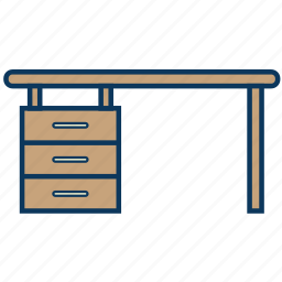 desk, drawer, office, table, worktable icon