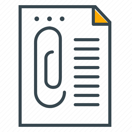 attachment, business, document, office, paper, paperclip icon