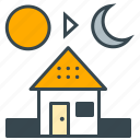 business, day, home, house, night, office, overtime icon