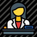 receptionist, reception, reception clerk, reception telephonist, front desk, help desk, information