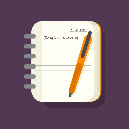 check, journal, listing, notepad, pen, school icon