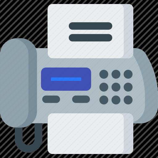 communication, fax, machine, office, phone, printer icon