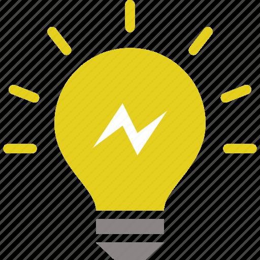 bulb, creative, energy, idea, light, light bulb, power icon