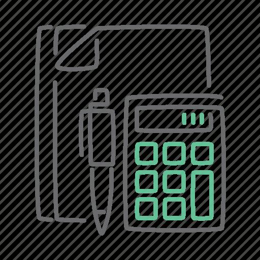 calculator, data, document, paper, report icon