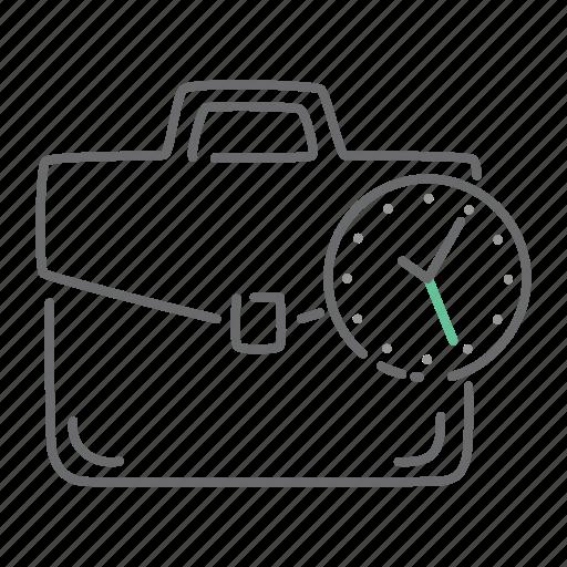 briefcase, business, clock, deadline, portfolio, time icon