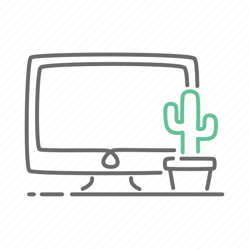 cactus, computer, mac, monitor, office, pc, plant icon