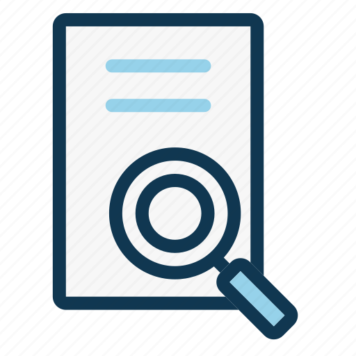 document, file, glass, magnifying, office, paper sheet, search icon