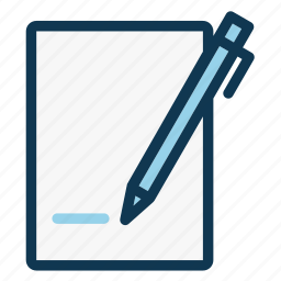 document, notebook, office, paper sheet, pen, signature, write icon