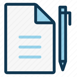 contract, document, file, notebook, office, page, pen icon