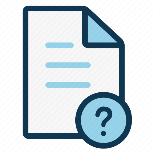 document, note, office, page, paper sheet, question mark, sheet icon
