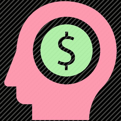 business, dollar, finance, head, idea, thinking icon