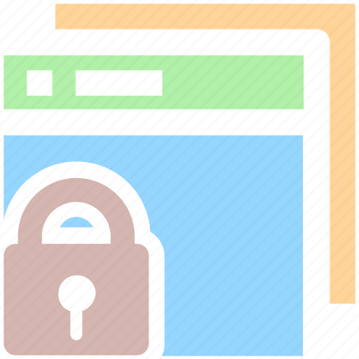 browser, lock, secure, security, web pages, web sites icon