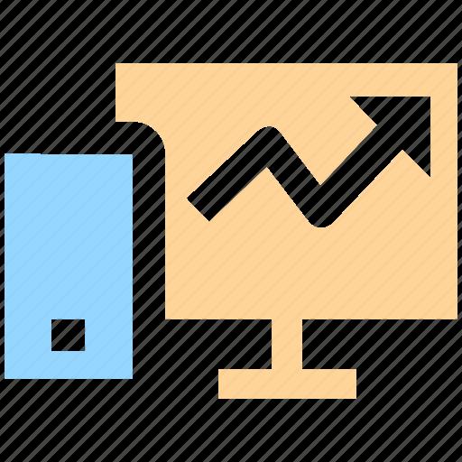chart, computer, desktop, graph, hardware, personal computer icon