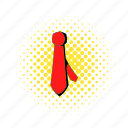 business, clothing, comics, necktie, red, silk, tie icon