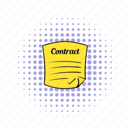 agreement, business, comics, contract, document, paper, pen icon