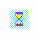 clock, comics, countdown, glass, sand, time, hourglass