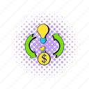 arrow, bulb, comics, dollar, idea, light, money icon