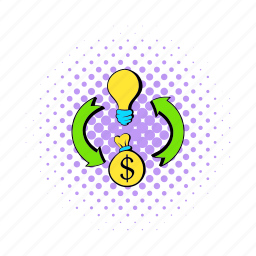 arrow, bulb, comics, dollar, idea, light, money icon