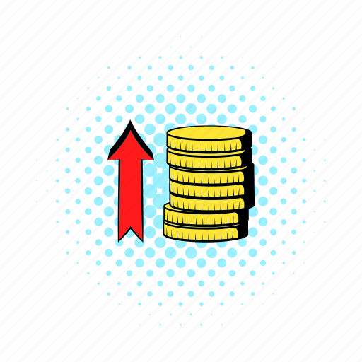arrow, business, coin, comics, growth, investment, red icon