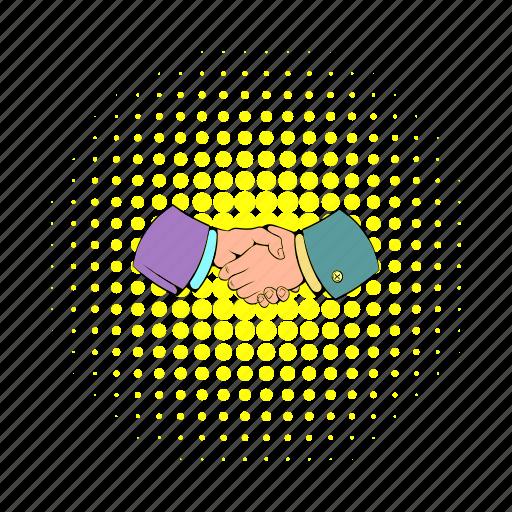 comics, contract, deal, hand, handshake, meeting, success icon