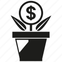 capital, finance, fund, growth, invest, money, pot icon