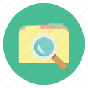 file, find, folder, magnifier, magnify, scan, search