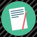 pencil, write, paper, pen, page, edit, document