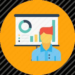 avatar, chart, employee, graph, man, office, presentation icon