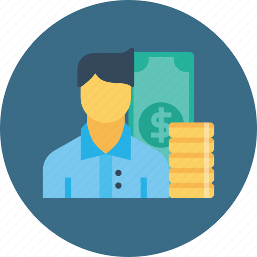 currency, employee, finance, man, money, office, salary icon