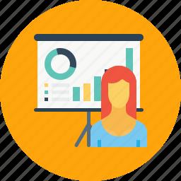 chart, employee, graph, office, presentation, statics, woman icon