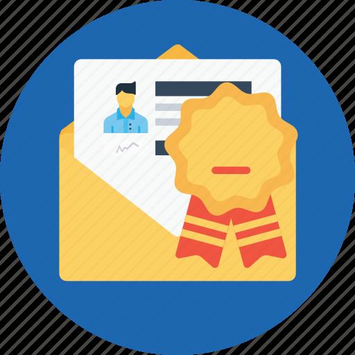 award, bedge, email, letter, newsletter, offer, office icon