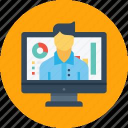 computer, desktop, employee, graph, office, performance, statics icon