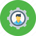 avatar, configuration, employee, gear, man, office, setting icon