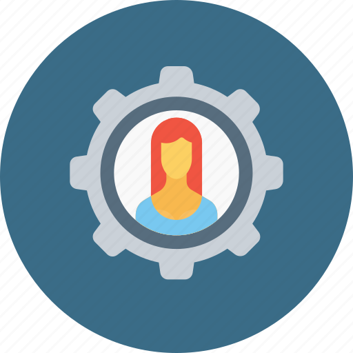 avatar, configuration, employee, gear, setting, user, woman icon