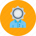 config, employee, gear, man, office, setting, user icon