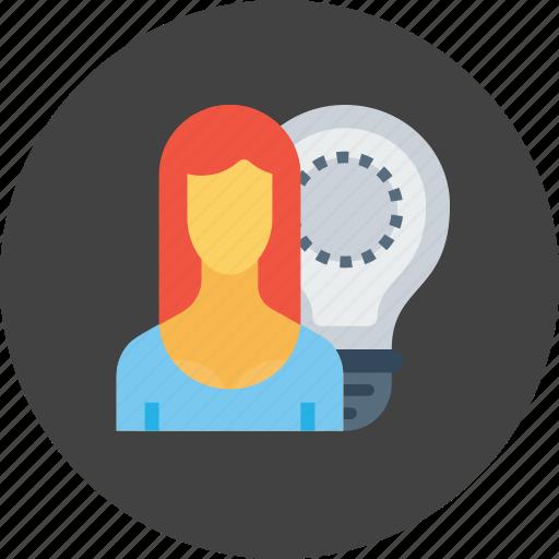 bulb, employee, idea, imagination, office, person, woman icon