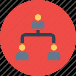 boss, command, company, employee, hierarchy, hybrid, level icon