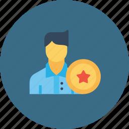 avatar, award, bedge, employee, man, office, user icon