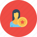 avatar, award, employee, office, reward, user, woman icon