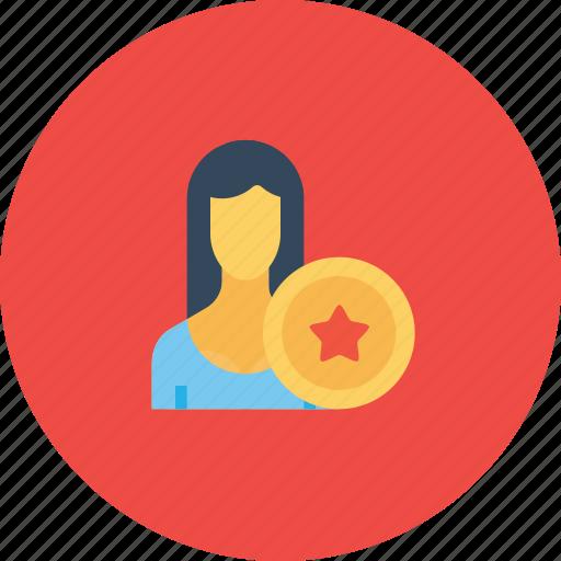 avatar, award, employee, office, reward, user, woman icon