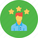 achievement, avatar, employee, man, office, person, star icon