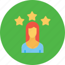 achievement, avatar, employee, office, star, user, woman icon