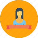 achievement, employee, label, office, ribbon, woman icon