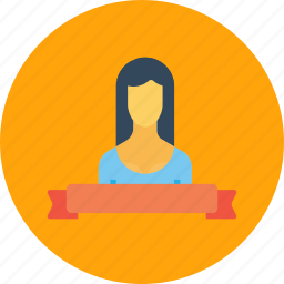 achievement, employee, label, office, ribbon, woman icon