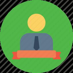 achievement, employee, label, man, office, ribbon icon