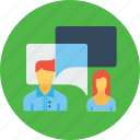 chat, conversation, employee, man, message, office, woman icon