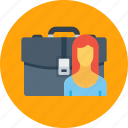 bag, case, employee, office, portfolio, woman, work icon