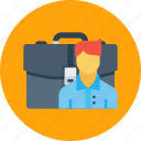 bag, case, employee, man, office, portfolio, work icon